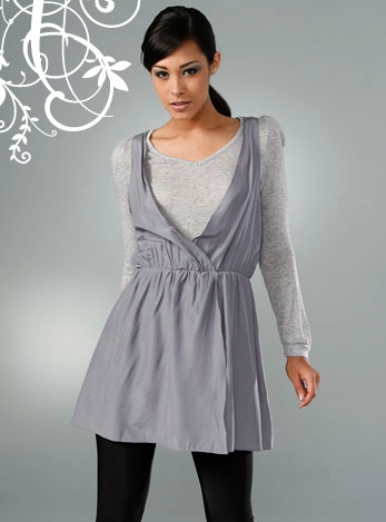 MK2K - Long Sleeve V Neck Dress